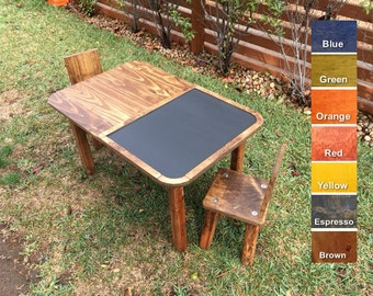 Kids chalkboard table top and chair set.