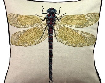 McAlister Textiles Bug's Life Tapestry Insect Print Scatter Cushions & Covers w/ Polycotton Backing - Yellow + Black Dragonfly