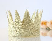 18K Gold Birthday Crown Headband - Lace Mini Aspen - First Birthday - Photo Prop - Smash Cake - Toddler to Adult