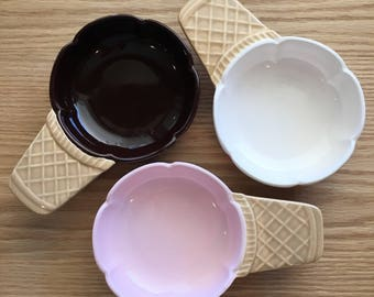 Vintage ice cream cone bowl made in Japan in the 1960s white, brown pink sold individually--mix and match colors