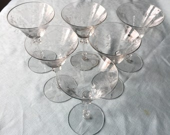 Vintage, Six (6) Etched, Martini Glasses.