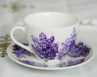 Hand-painted tea cup with lilacs