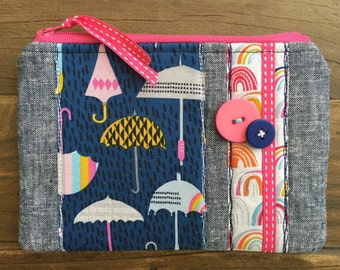 Handmade linen fabric Cosmetic Make up bag Pouch Rainy Day Umbrellas Bright Colourful