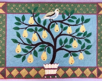 Vintage ORVIS Hand Hooked Wool 2'x3' Area Rug Partridge in a Pear Tree Christmas **FREE SHIP**