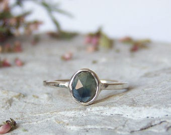 Sapphire ring, rose cut sapphire ring, greenish blue sapphire ring, delicate ring, stacking ring, trillion fancy rose cut ring, For Order