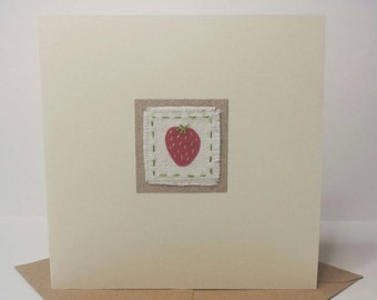 Little Strawberry hand stitched fabric card - birthday - thank you