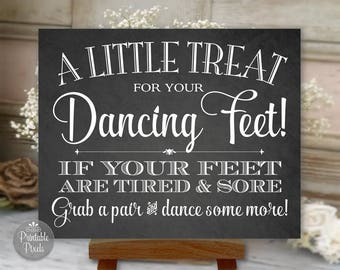 Dancing Shoes Printable Wedding Sign, Chalkboard Style, Little Treat For Your Dancing Feet, Flip Flops Sign (#DAN3C)