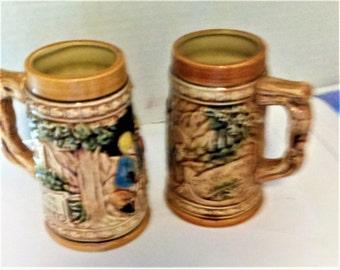 Mid Century German Beer Steins, Made In Japan, Pair Of Beer Mugs, Bar Decor