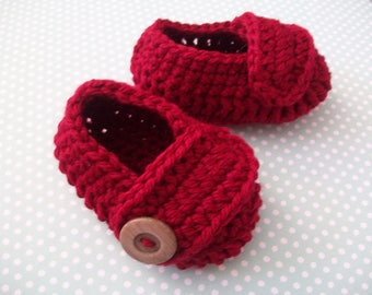 Red Baby Booties, Red Baby Shoes, Red Newborn Shoes, Red Crib Shoes, Red Soft Baby Booties, Red Crochet Baby Shoes