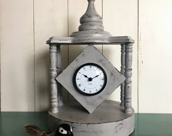 Shabby Chic Gray Mantle Clock, Cottage Chic Desk Clock, Upcycled Clock, Vintage Style Clock, Wood Clock, Distressed Clock, Shabby Chic Decor