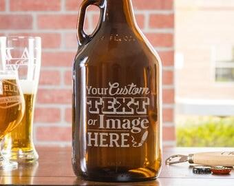 Custom Growler, Beer Gift, Personalized Growler, Beer Growler, Birthday Gift For Him, Engraved Growler, Monogram Growler, Etched Growler