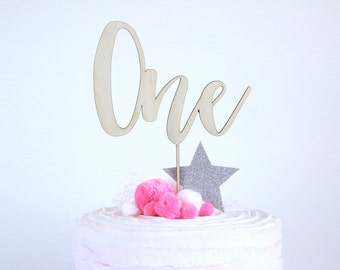 Age one first year birthday - wood/wooden birthday cake toppper - Plywood personalised cake decoration timber