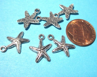 10pcs Antique Silver Starfish Charms Pendants 6mm
