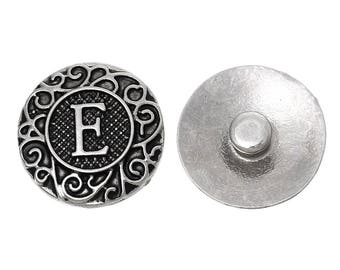 "1pc 19mm Antique Silver Alphabet /Letter ""E"" Snap Button Charms Knob Size: 5.5mm( 2/8"")"