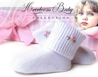 Heirloom Baby Girl Socks 'ORGANIC COTTON' - pink hand embroidery, bullion rose, infant booties, newborn clothing, baby heirloom, baby girl