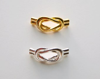 2 All in One Silver or Gold Magnetic Infinity Clasp with End Cap, 6mm hole