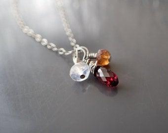 Moonstone Garnet Hessonite Necklace, Wire Wrapped Sterling Silver Pendant, Charm Gemstone Choker, Briolette, Teardrop,  Everyday, Delicate