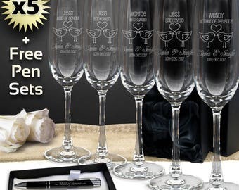 5x Personalised Champagne Glass 215ml Engraved Wedding Bridesmaid Flute , Free Pen Set GIFT BOX OPTION,  Free Shipping