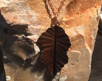 Copper Necklace -  Leaf