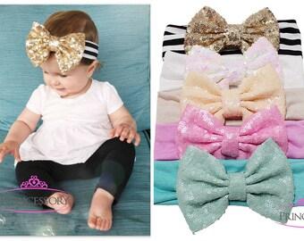 "baby girl headband, baby headband, sequin bow headband, 5"" bow, baby headwrap, baby turban headband, floppy, big bow, sparkle"