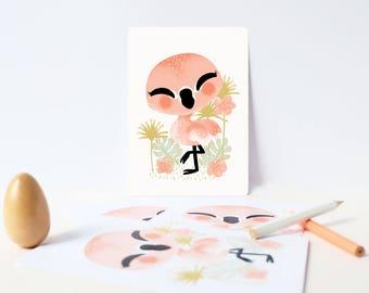 Card - Les Animignons :  the Flamingo
