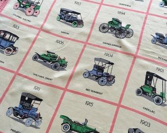 Vintage Pink and White Brooke Cadwallader Antique Automobiles Silk Scarf
