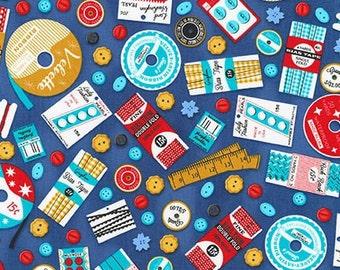 Fabric - Robert Kaufman - Gran's sewing basket - blue - woven cotton