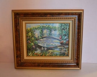 "Original Vintage Acrylic of Lin Ford's Interpretation of C. Monet's ""The Water Lily Pond"""