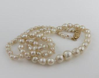 Vintage 14k Pink Cream Baroque Pearl Strand Necklace.