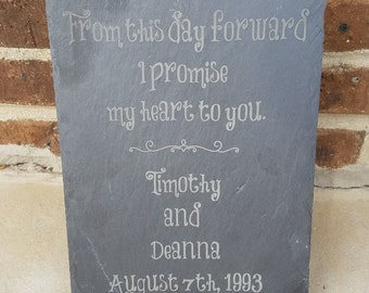 Custom Wedding Sign - Laser Engraved on Slate - 12 x 8