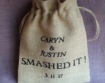 Rustic Burlap Smash glass Pouch.  Personalized wedding grooms smash glass pouch bag. Jewish glass breaking pouch.