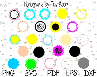 Monogram Circles File for Cutting Machine Instant Download