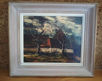 Reproduction of the painting LA CHAUMIERE by M.VLAMINCK on canvas, framed.