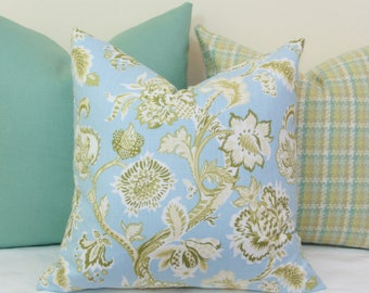 Green and blue floral decorative throw pillow cover 18x18 20x20 22x22 24x24 26x26 28x28 Euro sham Lumbar 12x20 12x24 14 26 16x24 16x26 Spa