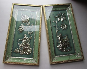 Mid Century Decor Metalcraft Plaques Framed Wall Plaques Four Seasons Design Summer Roses Winter Poinsettia Green Shadow Box Relief Figures