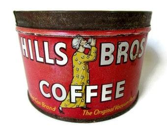 Tin; Advertising Tin, Coffee Tin, Food Tin, Hills Brothers Tin, Hills Brothers Coffee Tin, Vintage Tin, 1939-1961
