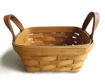 Longaberger Basket With Leather Strap Handles, 1997