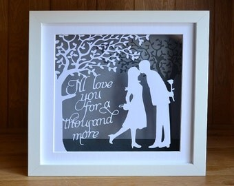 The Kiss - personalised papercut - traditional 1st anniversary gift
