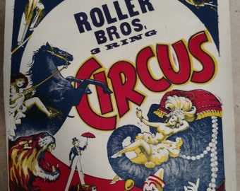 Roller Bros. 3 Ring Circus ArtWork Rare Show Poster