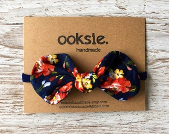 Floral fabric 'Luka' bow headband with super soft nylon hair band