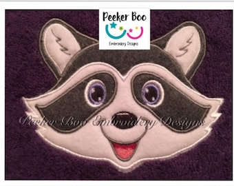 "Bandit Raccoon Full Faced Towel Peeker Embroidery Applique Design. 5x7"" hoop. This is a design file only not a ready made item."