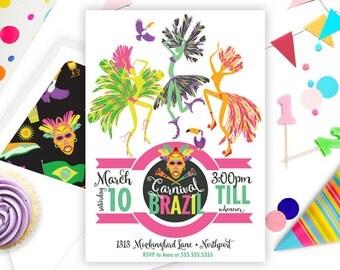 Brazilian Carnival • Mardi Gras Invitation •Print Yourself or Here for a Buck!