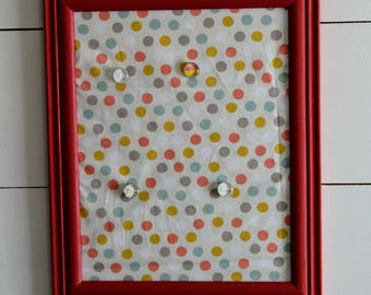Coral Red Frame Magnet Board with Polka Dot Fabric Insert