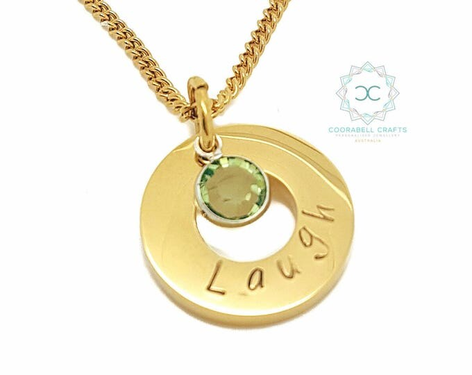Personalised Jewellery, Personalised Necklace, Family Necklace, Gold  Dainty Birthstone Hand Stamped Pendant, Gift for Daughter, Girl Gift