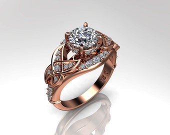 Moissanite Engagement Ring Charles Colvard Forever One Ring .30ct Natural Diamonds Rose Gold Anniversary Flower Ring Pristine Custom Rings
