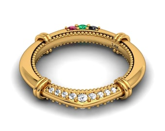 Unique Diamond Birthstone Wedding Band Diamond Rings Ruby Emerald Black Diamond White Diamonds 14k Yellow Gold Custom Pristine Custom Rings