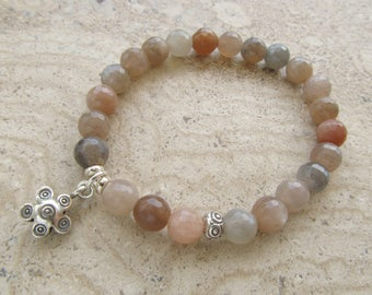 Sunstone Stone Gemstone Sterling Silver Flower Sun Charm Stretch Beaded Bracelet