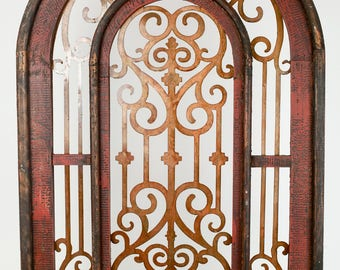 Istanbul Architectural Window -Wall-Primitive-Rustic--Wood-Garden-Patio-28x42-Antiqued Red-Mediterranean and Vintage Inspired