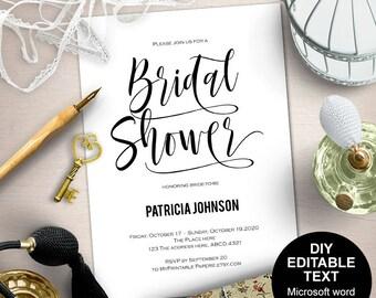 Bridal shower invites, Printable bridal shower invitation, Bridal shower invitation, modern bridal shower, simple, DIY, printable, Modern