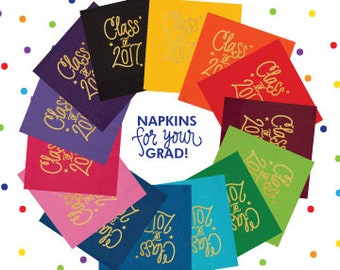 Class of 2017 Napkins - CHOOSE YOUR COLOR! (Qty 25)